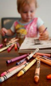 Kid listen pick up crayons