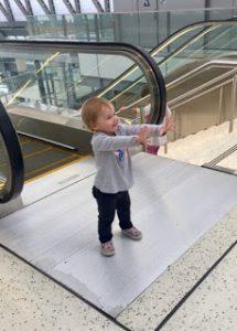 crisis averted kid on escalator
