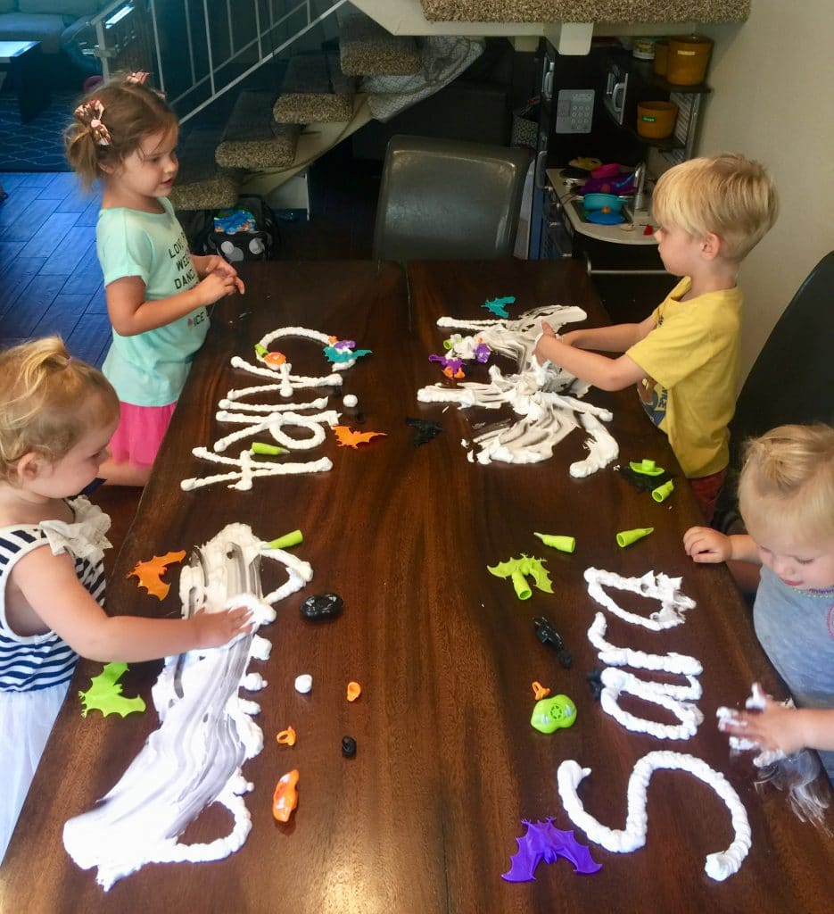 sensory play with shaving cream