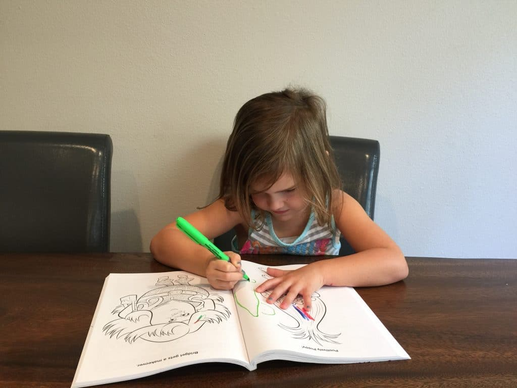 5 Year old Drawing in a book